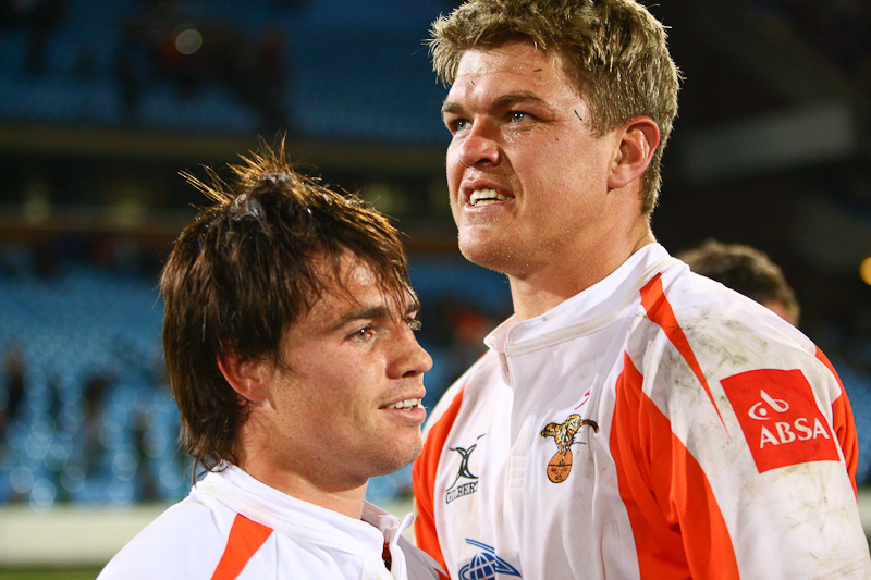 Sias Ebersohn and Juan Smith after victory at Loftus (Hilton Kotze)