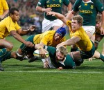 Jean De Villiers scores a try against Wallabies in Photo by Hilton Kotze