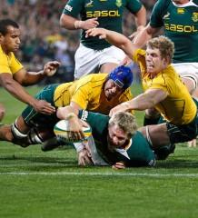 Jean De Villiers scores a try against Wallabies in Photo by Hilton Kotze