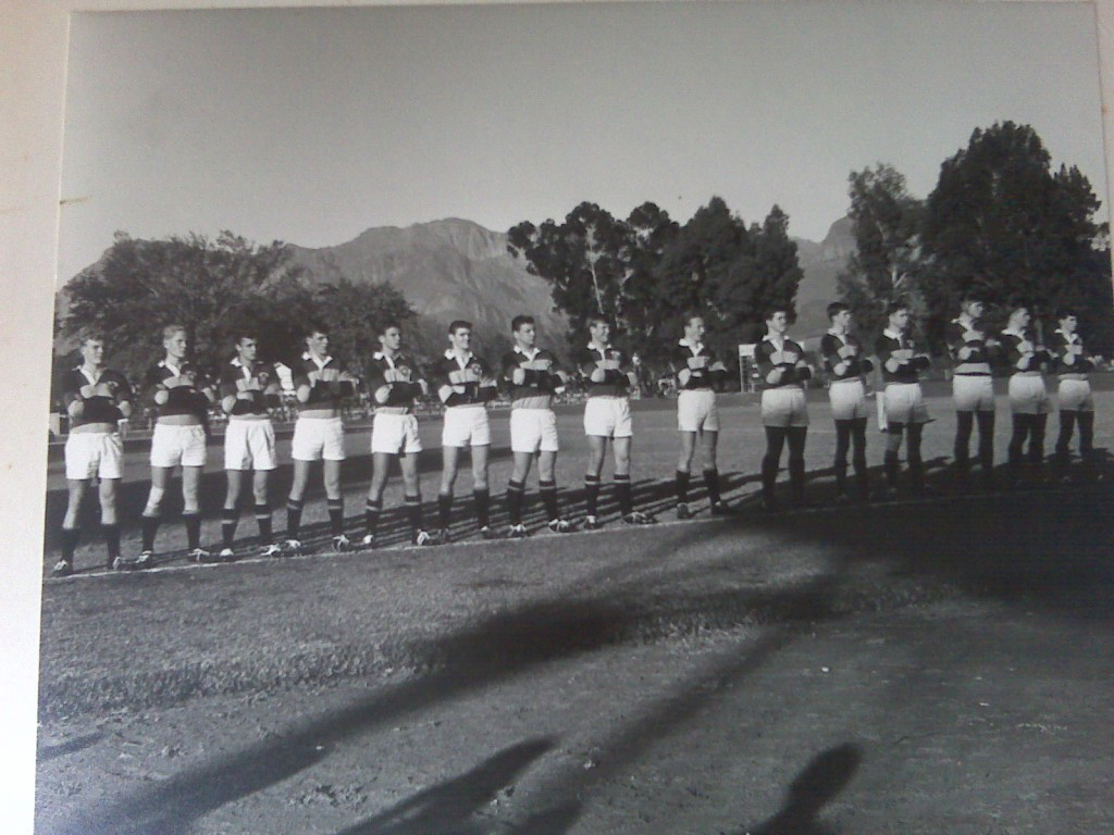 Photo of 1965 Paarl Gym 1st XV before their interschool match against Paarl Boys High (Gym won 11-0)