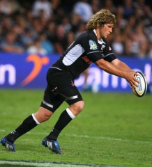 Frans Steyn attempting one of his trademark long distance drop goals. Photo by Photo by Anesh Debiky /Gallo Images /Getty Images.