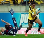 Julian Savea goes over for his hat-trick in the Hurricanes 66-24 thumping of the Rebels. Photo by Hagen Hopkins /Getty Images AsiaPac.