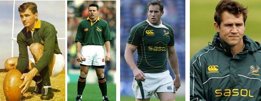 Famous Maritzburg College Springbok Flyhalves Keith Oxlee, Joel Stransky, Butch James, Peter Grant