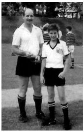 Craig Joubert with father Des moments before refereeing a school game at College in 1992