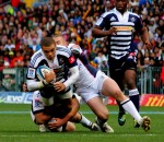 Bryan Habana goes over for what he thought was as try. Photo by Mike la Grange /Rugby15.