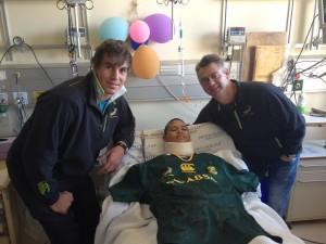 Springbok coach Heyneke Meyer and lock Eben Etzebeth visit injured player in hospital