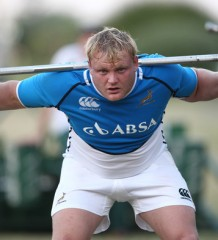 Adriaan Strauss doing some weight training in the Springbok camp. Photo by Getty images,