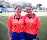 South Africa's Marlize Jordaan (right) with Leah Berard from the USA, one of the top female referees in the world.