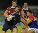 FNB NMMU Madibaz captain Roy Godfrey (left) fends off a challenge during an earlier Varsity Cup encounter. Photo: Lee Warren/Gallo Images