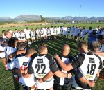 Roses United and Broubart Old Selbornian players embrace after their Cell C Community Cup third-round match played at Pelican Park in Wellington on Saturday. Old Selbornian won 26-25 to keep alive their hopes of qualification for the Easter Play-offs in George from 28 March to 1 April. Photo: ImageSA.