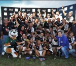 GAP Despatch with the trophy and Danie Gerber after the Cell C Community Cup finals rugby match between Jonsson College Rovers and GAP Despatch held at the Outeniqua Stadium, George in the Western Cape Province..Photo by Luigi Bennett / ImageSA