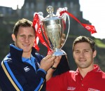 Mark Robertson and Chris Cusiter on the HSBC Sevens World Series trophy tour in Edinburgh