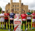 The captains of the eight teams battling to win core team status next season- Tonga, Georgia, Spain, Scotland, Portugal, Zimbabwe, Russia and Hong Kong - Photo- IRB:Martin