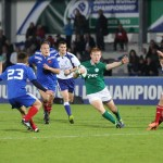 IRB JWC 2013 Ireland v France Rory Scholes tries to looks to go through the French defence in their clash in La Roche-sur-Yon. Photo- Christelle Glemet