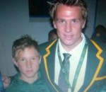 Johan Goosen and his school day springbok hero Jean De Villiers