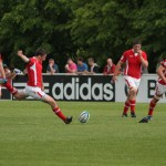 Pool C- Wales v Samoa Welsh fly half Sam Davies kicks for goal in their match with Samoa. Photo- Steven Lebreton