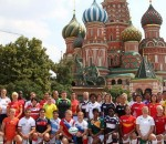 The captains of all 40 teams in front of the iconic St Basil's Cathedral in Moscow's Red Square. Photo- IRB:Martin Seras Lima