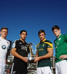 Caption of attached rights-free photo: The captains of the four Junior World Championship semi-finalists with the JWC trophy at the Viaduct Harbour in Auckland.