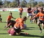 Maties vs UJ, Varsity Cup Rugby. Bradley Moolman getting brought to ground, Danie Craven Stadium, Stellenbosch, 09 March 2015.  Photo: Liam Hamer-Nel/alliancephoto.com COPYRIGHT:Liam Hamer-Nel/alliancephoto.com