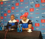 Frans Ludeke and Pierre Spies at today's media conference.