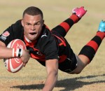 Curwin Bosch dives over for his try during day 2 of the Coca-Cola Craven...