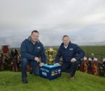 Former England Rugby player Mark Regan and Managing Director of England Rugby 2015 Stephen Brown with the Webb Ellis Cup during a visit to Hadrian's Wall as part of the 100 day Rugby World Cup Trophy Tour of the UK & Ireland. Tickets for the Tournament, which starts on September 18, are on sale now at http://tickets.rugbyworldcup.com. Picture date: {Wednesday July 29, 2015. Picture by Hannah McKay/England Rugby 2015 via PA Wire.