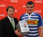 Man of the Match Ruben de Villiers (WP) with Jurie Roux (CEO SARU)