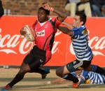 Mfundo Ndlovu runs in for his try during day 1 of the Coca-Cola Craven W...