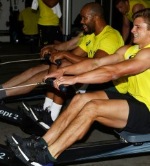 DURBAN, SOUTH AFRICA - AUGUST 03: JP Pietersen with Patrick Lambie during the Springboks Gym session and Beverley Hills Hotel on August 03, 2015 in Durban, South Africa. (Photo by Steve Haag/Gallo Images)