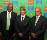 CAPE TOWN, SOUTH AFRICA - AUGUST 05: Francois Davids of SARU, Embrose Papier and Tobie Titus of SARU during the 2015 SA Schools Capping Ceremony at Newlands Southern Sun on August 05, 2015 in Cape Town, South Africa. (Photo by Petri Oeschger/Gallo Images)
