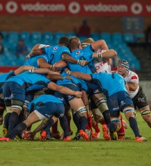 PRETORIA, South Africa, 04 SEPTEMBER 2015 : Strong Cheetah scrum during the ABSA CURRIE CUP Rugby match between the BLUE BULLS and the FREE STATE CHEETAHS at Loftus Versfeld in Pretoria, South Africa on 04 SEPTEMBER 2015. Photo by Anton Geyser
