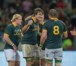 PORT ELIZABETH, SOUTH AFRICA - JUNE 28: Lood de Jager and Handré Pollard during the Castle Lager Incoming Tour match between the Springboks and Scotland played at Nelson Mandela Stadium, Port Elizabeth, South Africa. (Photo by Anton Geyser)