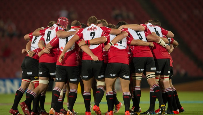 EMIRATES AIRLINE PARK, SOUTH AFRICA - February 13: Lions team just before kickoff before the Vodacom Super Rugby match between the Emirates Lions and the Hurricanes played at Emirates Airline Park, Johannesburg, South Africa. (Photo by Anton Geyser/ Rugby 15)