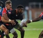 2016 FNB Varsity Cup Rugby presented by Steinhoff International, Monday 08 February 2016. FNB UJ vs FNB NMMU. UJ Stadium, Johannesburg Gauteng, Aphiwe Dyantyi of UJ is tackled by Jeremy Ward and Siyanda Zungu of NMMU during their clash at the UJ stadium on monday  Photo by: SASPA