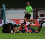 2016 FNB Varsity Cup Rugby presented by Steinhoff International, Monday 08 February 2016. FNB UJ vs FNB NMMU. UJ Stadium, Johannesburg Gauteng, Jeremy Jordaan of UJ scoring a try while Khaya Malotana is trying to tackle of NMMU  during their clash at the UJ stadium on monday  Photo by: SASPA