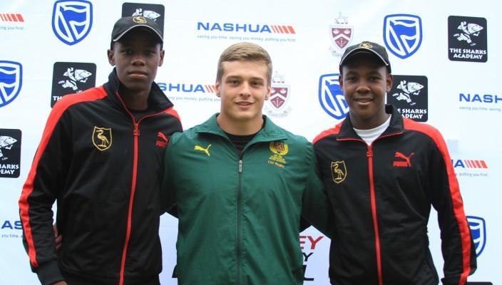 Aphelele Fassi (Dale fullback), Renier van Rooyen (Glenwood prop) and Sibulele Mbana (Dale centre)