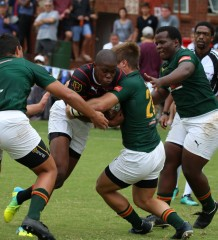 Dale fullback and bursary recipient Aphelele Fassi attempts to get through the Glenwood defence