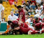St.George Queensland Reds v Cheetahs, Suncorp Stadium, 30 April 2016. - St.George Queensland Reds celebrate Curtis Browning's try.