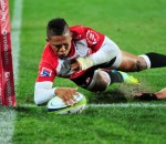 Elton Jantjies of the Lions scores try during the 2016 Super Rugby rugby match between the Lions and Crusaders at Ellis Park Stadium in Johannesburg, South Africa on April 1, 2016 ©Gavin Barker/BackpagePix