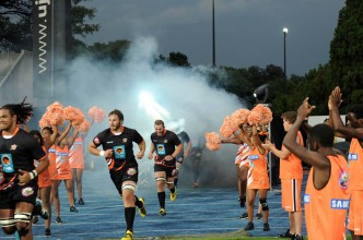 2016 FNB Varsity Cup Rugby presented by Steinhoff International, Monday 08 February 2016. FNB UJ vs FNB NMMU. UJ Stadium, Johannesburg Gauteng, UJ players running onto the field during the  NMMU and UJ clash at the UJ stadium on monday  Photo by: SASPA