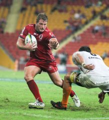 St.George Queensland Reds v Cheetahs, Suncorp Stadium, 30 April 2016. - St.George Queensland Reds prop James Slipper steps to the inside of the Cheetahs defence.