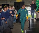 NELSPRUIT, SOUTH AFRICA - AUGUST 17: Oupa Mohoje during the #LoveRugby local school assembly at Mbombela Stadium on August 17, 2016 in Nelspruit, South Africa. (Photo by Dirk Kotze/Gallo Images)