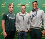 CAPE TOWN, SOUTH AFRICA - AUGUST 07: Louritz van der Schyff (SA Schools A Captain), Jean de Villiers and Salmaan Moerat (SA Schools Captain) during to the SA Schools players at Southern Sun Hotel on August 07, 2016 in Cape Town, South Africa. (Photo by Ashley Vlotman/Gallo Images)