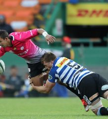 JP Lewis of Pumas tackled by Chris van Zyl of Western Province during the Currie Cup Premier Division match between the DHL Western Province and the Pumas held at the DHL Newlands rugby stadium in Cape Town, South Africa on the 17th September  2016  Photo by: Ron Gaunt / RealTime Images