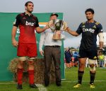 Samuel Whitelock of the Crusaders and Shane Christie of the Highlanders hold the Farmlands cup, following the Farmlands Cup match between the Highlanders and the Crusaders, held at Fred Booth Park, Gore, New Zealand, 11 February 2016. Copyright Image: Joe Allison / www.Photosport.nz