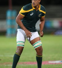STELLENBOSCH, SOUTH AFRICA - APRIL 25: Salmaan Moerat of Junior Springboks during the Exhibition Match between Varsity Cup Dream Team and Junior Springboks at Danie Craven Stadium on April 25, 2017 in Stellenbosch, South Africa. (Photo by Photo by Carl Fourie/Gallo Images)