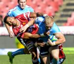 JOHANNESBURG, SOUTH AFRICA - MAY 20: Tinus de Beer of the Bulls tackled be Bobby de Wee of the Lions during the SuperSport Rugby Challenge match between Xerox Golden Lions and Vodacom Blue Bulls at Emirates Airline Park on May 20, 2017 in Johannesburg, South Africa. (Photo by Sydney Seshibedi/Gallo Images)