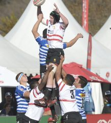 JOHANNESBURG, SOUTH AFRICA - JULY 19: Christen Van Niekerk of the Lions wins possession against Western Province during day 3 of the 2017 U/18 Coca-Cola Craven Week at St Stithians College on July 19, 2017 in Johannesburg, South Africa. (Photo by Sydney Seshibedi/Gallo Images)
