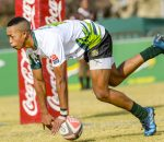 BLOEMFONTEIN, SOUTH AFRICA - JULY 12: James Jaylen of SWD scores a try against Border during day 2 of the 2017 U/16 Coca-Cola Grant Khomo Week at Grey College on July 12, 2017 in Bloemfontein, South Africa. (Photo by Sydney Seshibedi/Gallo Images)