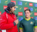 Victor Matfield talks to hero of the day Dian Bleuler